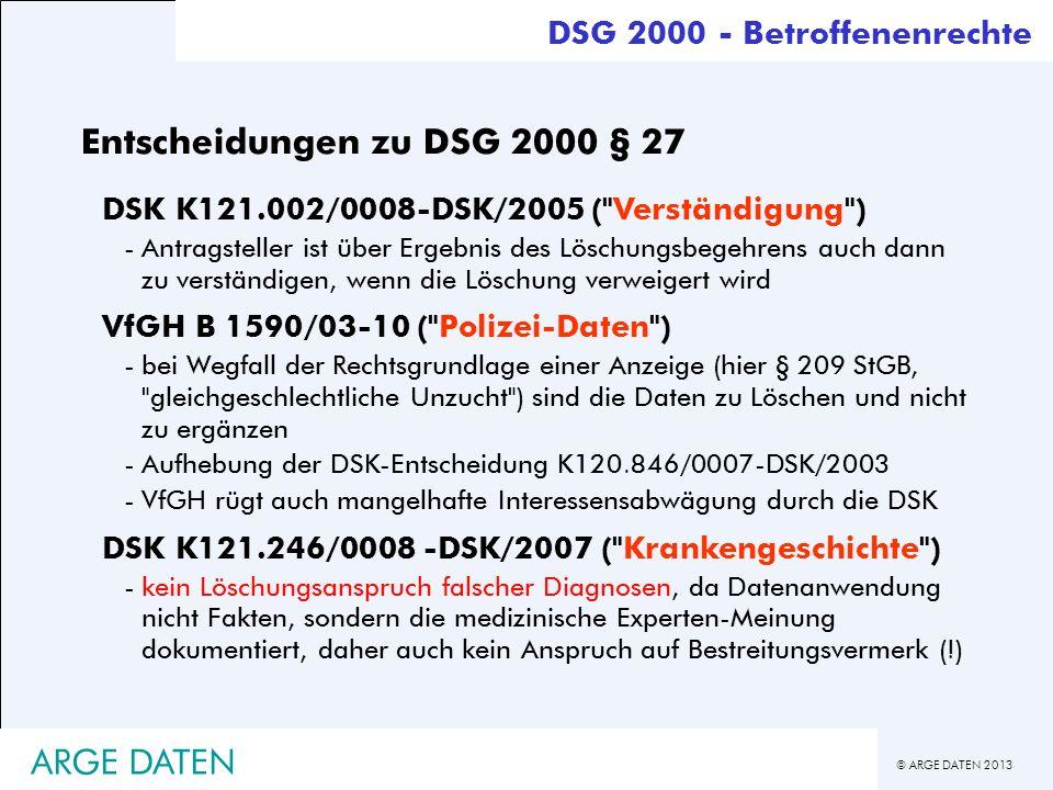 Entscheidungen zu DSG 2000 § 27