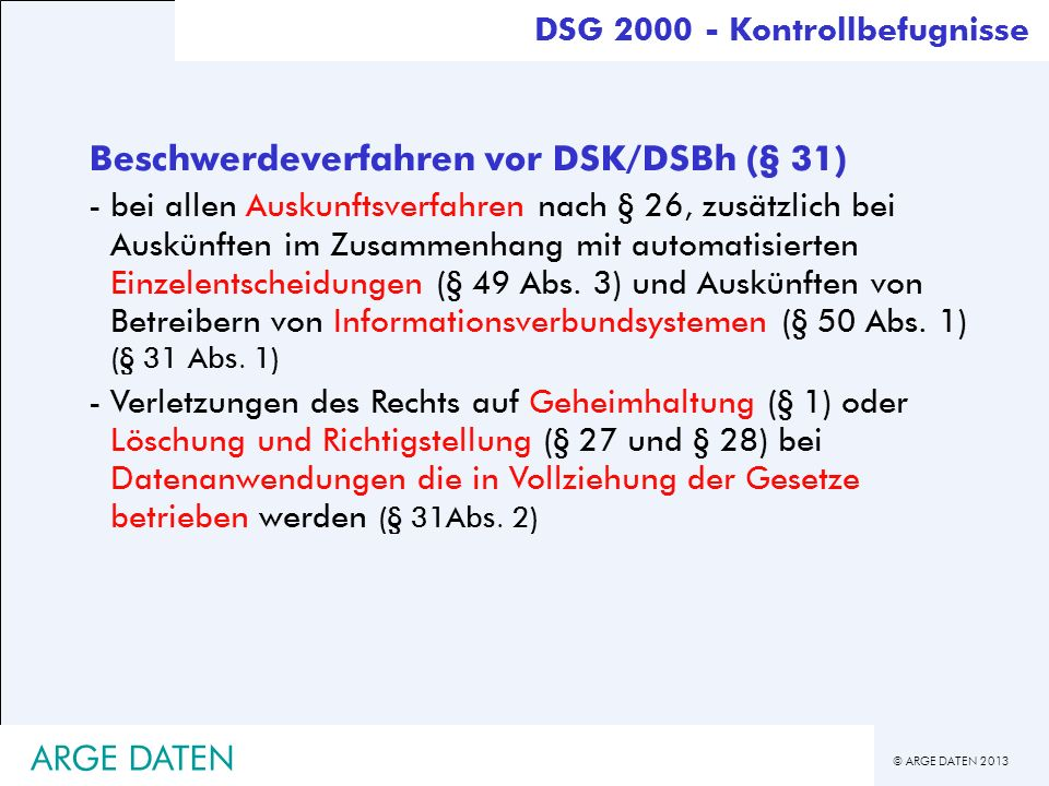 Beschwerdeverfahren vor DSK/DSBh (§ 31)