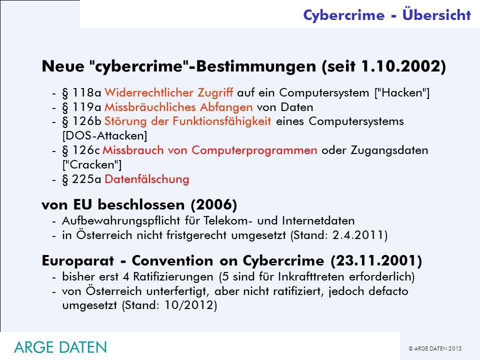 Neue cybercrime -Bestimmungen (seit 1.10.2002)