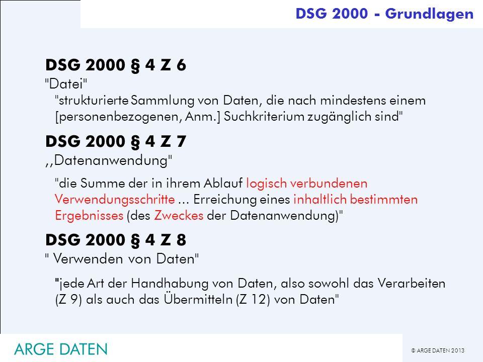 DSG 2000 § 4 Z 8 Verwenden von Daten