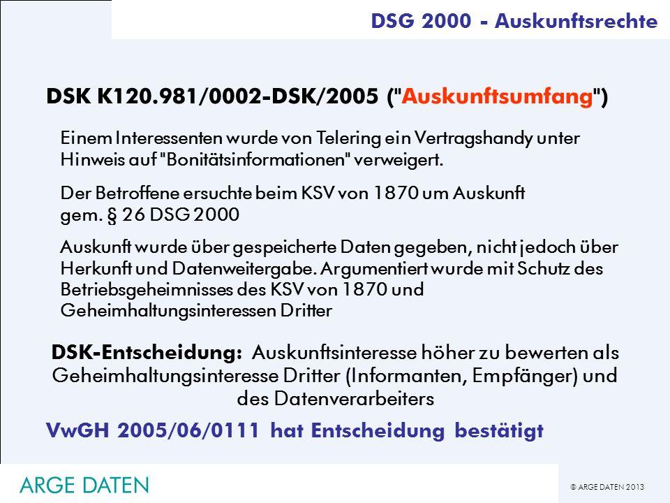 ARGE DATEN DSK K120.981/0002-DSK/2005 ( Auskunftsumfang )