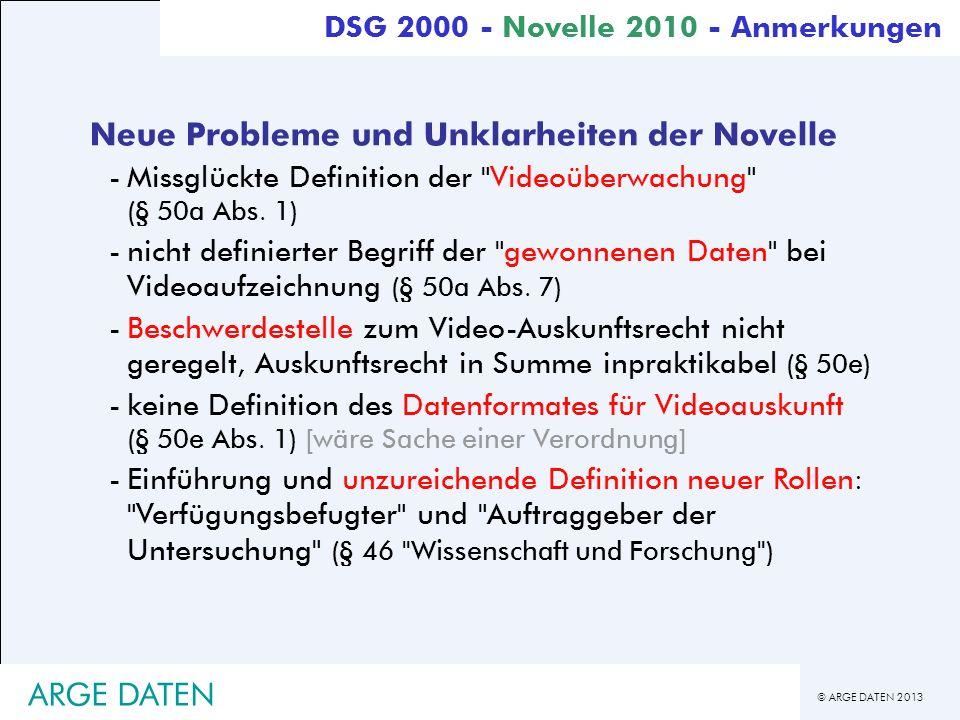 Neue Probleme und Unklarheiten der Novelle
