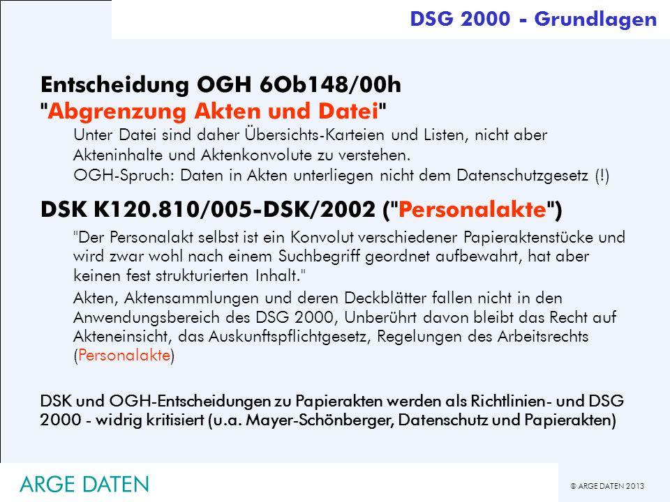 Entscheidung OGH 6Ob148/00h Abgrenzung Akten und Datei