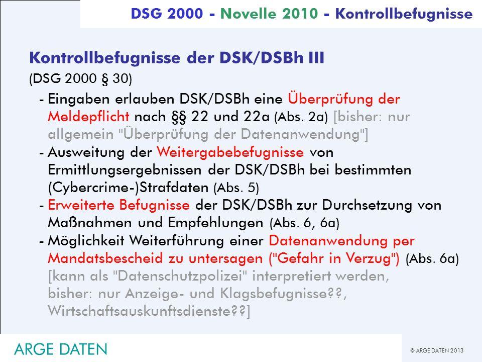 Kontrollbefugnisse der DSK/DSBh III