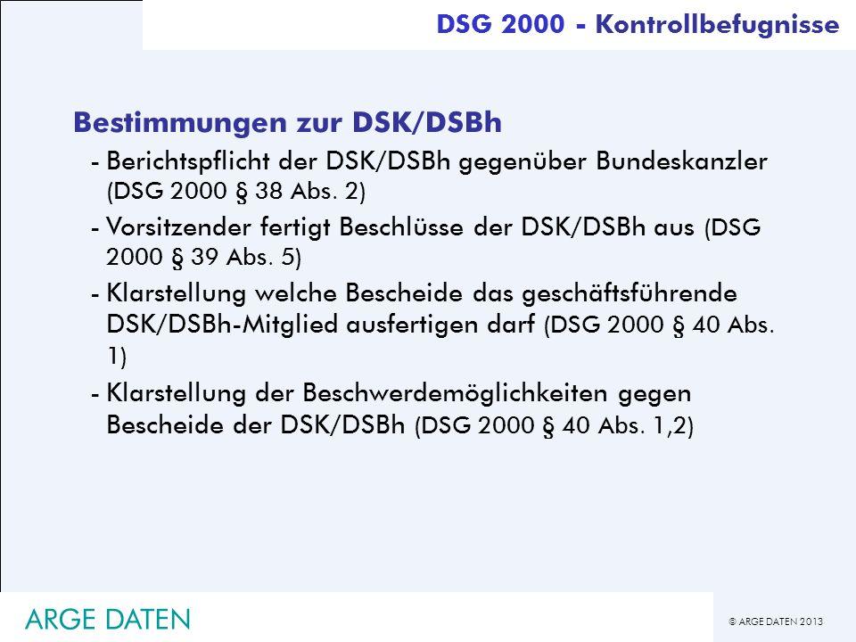 Bestimmungen zur DSK/DSBh