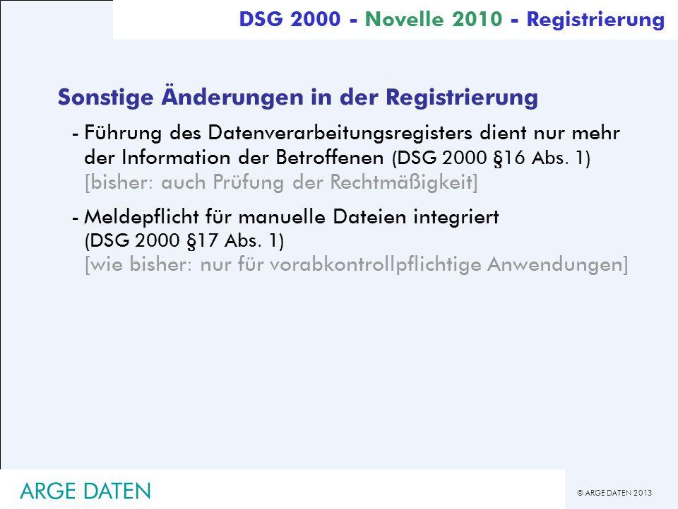 Sonstige Änderungen in der Registrierung