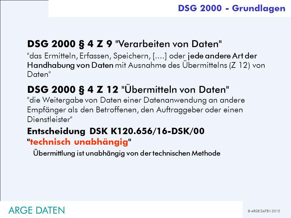 DSG 2000 § 4 Z 9 Verarbeiten von Daten