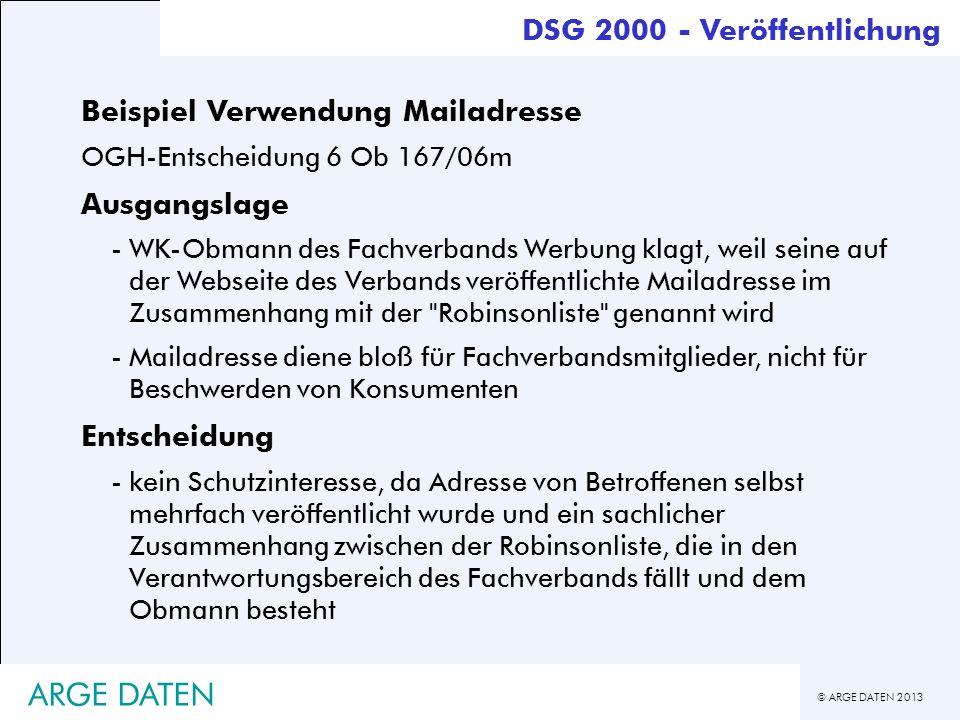 ARGE DATEN DSG 2000 - Veröffentlichung Beispiel Verwendung Mailadresse