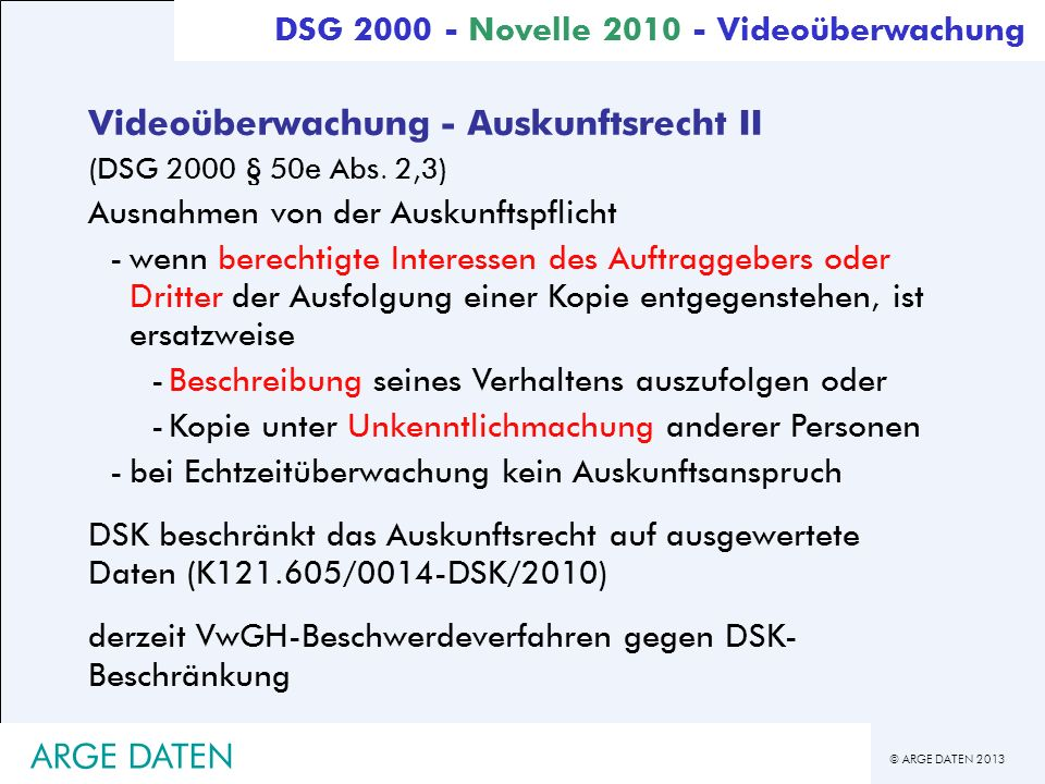 Videoüberwachung - Auskunftsrecht II