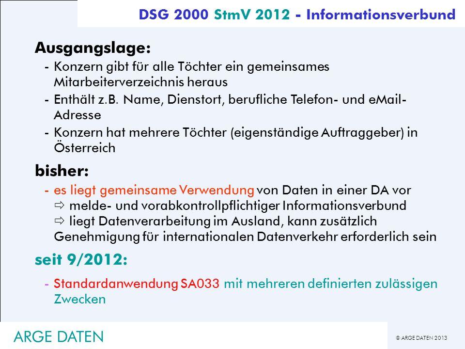 Ausgangslage: bisher: seit 9/2012: ARGE DATEN
