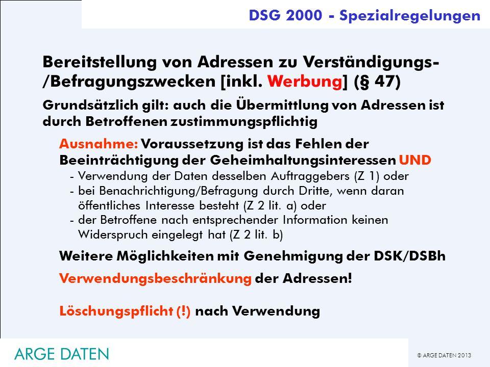 DSG 2000 - Spezialregelungen
