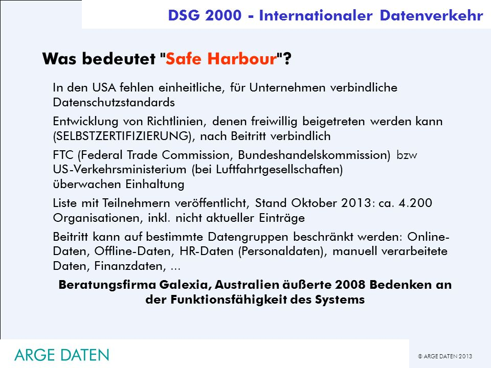 Was bedeutet Safe Harbour