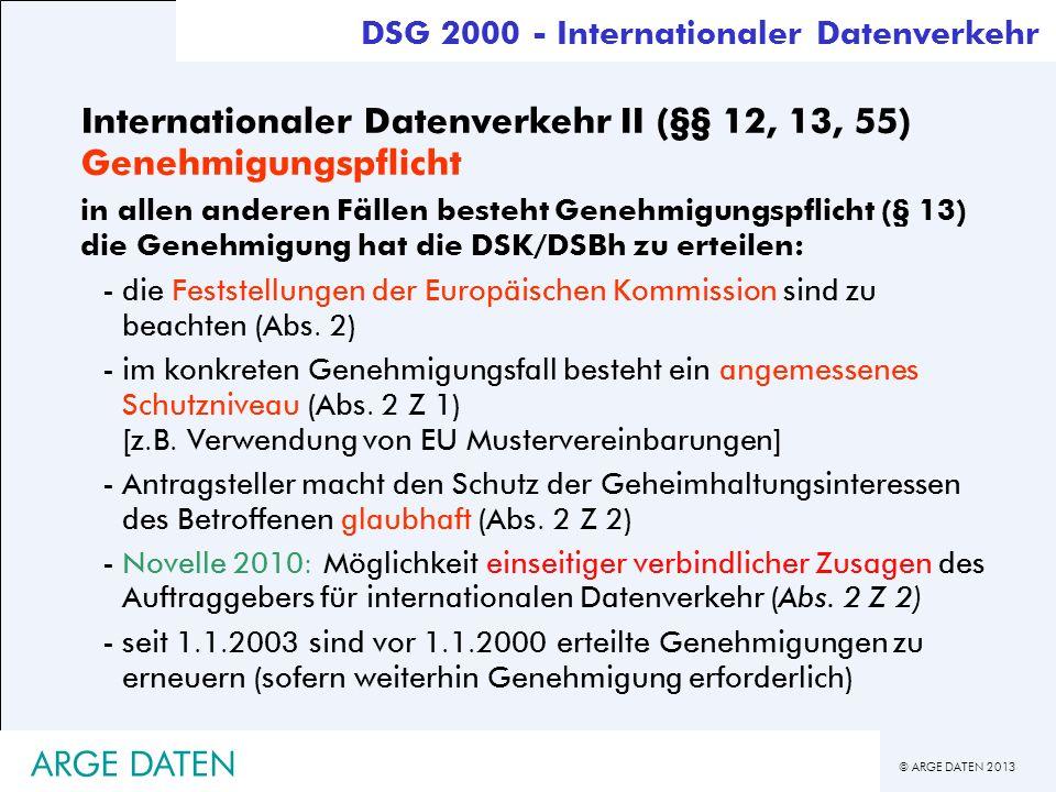 Internationaler Datenverkehr II (§§ 12, 13, 55) Genehmigungspflicht