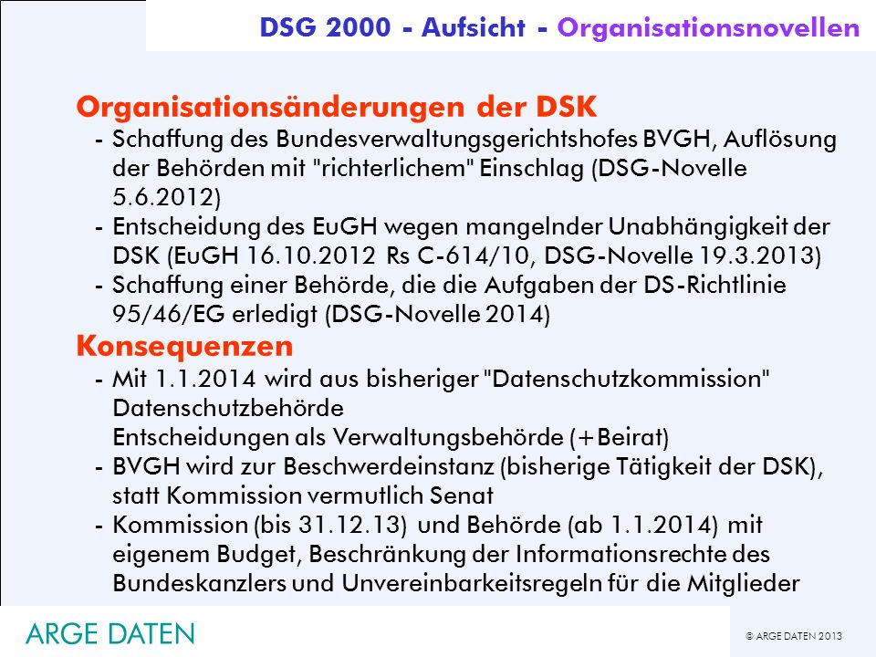 Organisationsänderungen der DSK