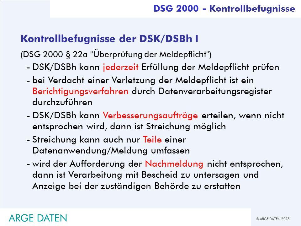 Kontrollbefugnisse der DSK/DSBh I