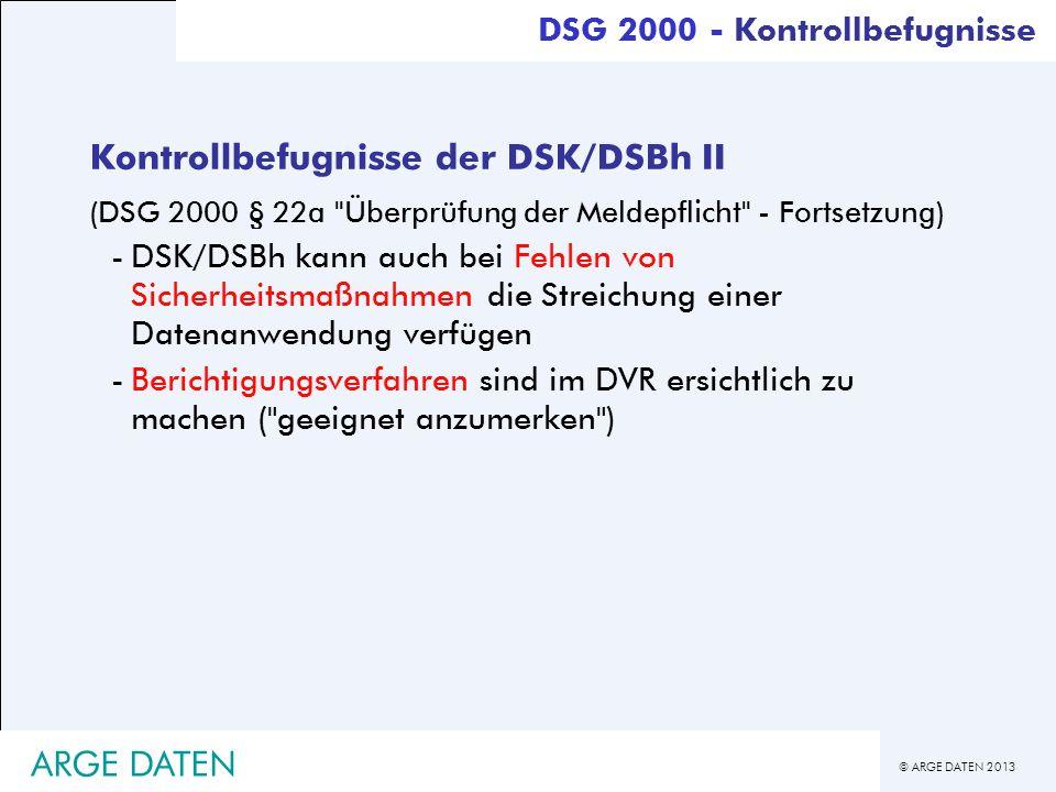 Kontrollbefugnisse der DSK/DSBh II