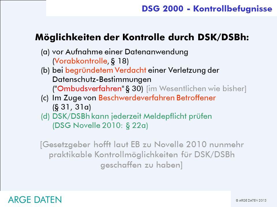 Möglichkeiten der Kontrolle durch DSK/DSBh: