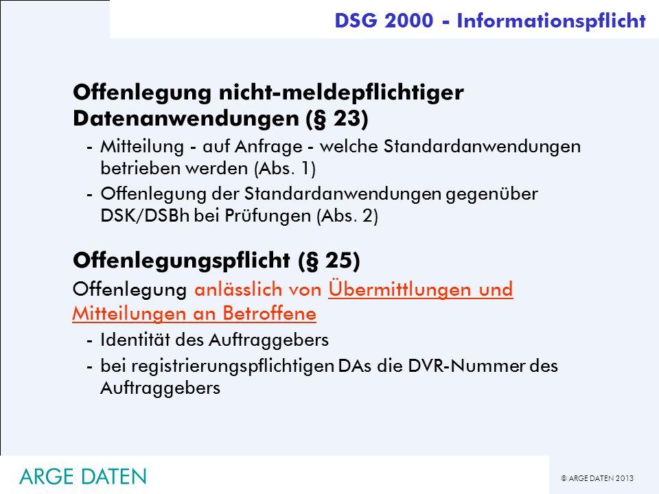 Offenlegung nicht-meldepflichtiger Datenanwendungen (§ 23)