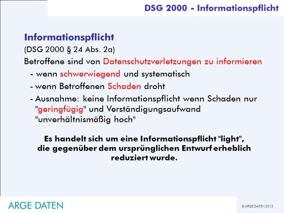 Informationspflicht ARGE DATEN DSG 2000 - Informationspflicht