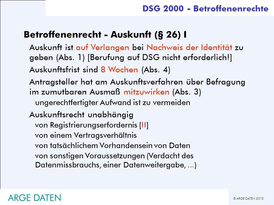 Betroffenenrecht - Auskunft (§ 26) I