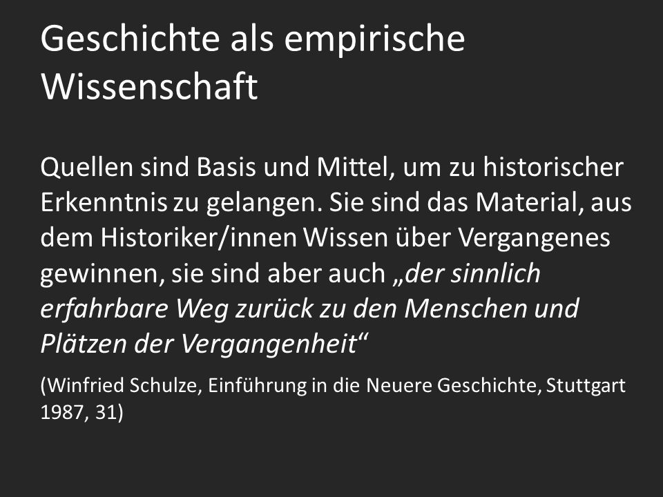 Geschichte als empirische Wissenschaft