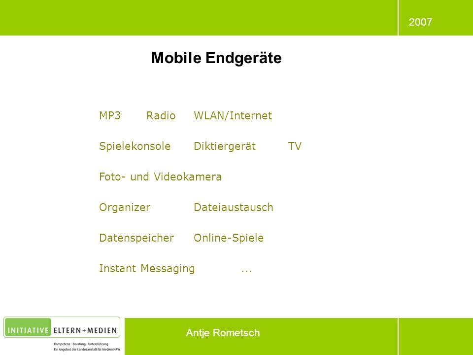 Mobile Endgeräte MP3 Radio WLAN/Internet Spielekonsole Diktiergerät TV