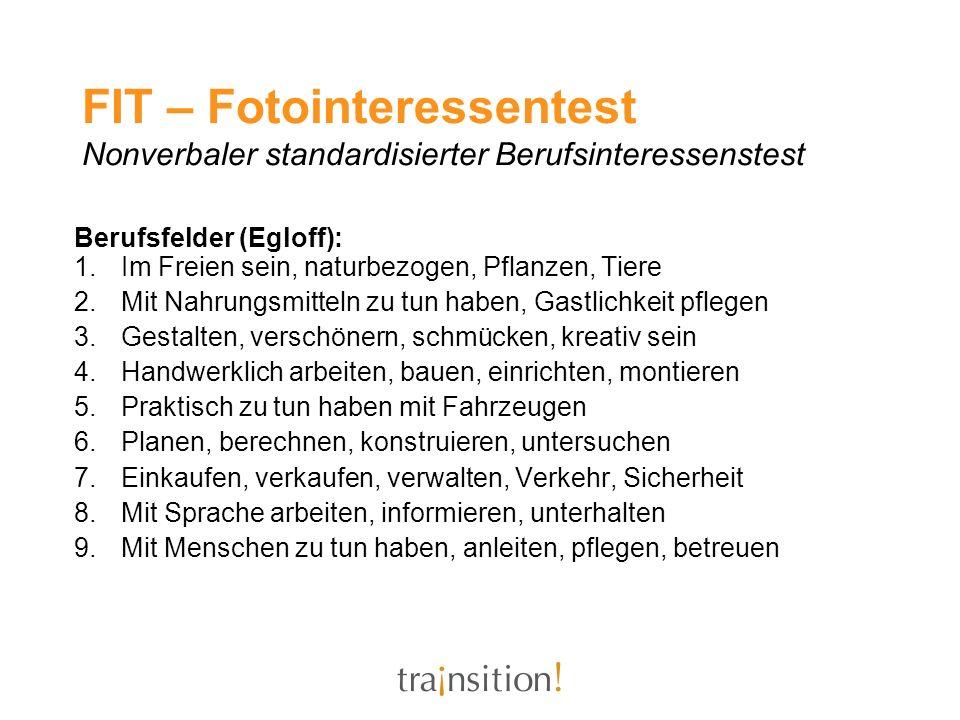 FIT – Fotointeressentest Nonverbaler standardisierter Berufsinteressenstest