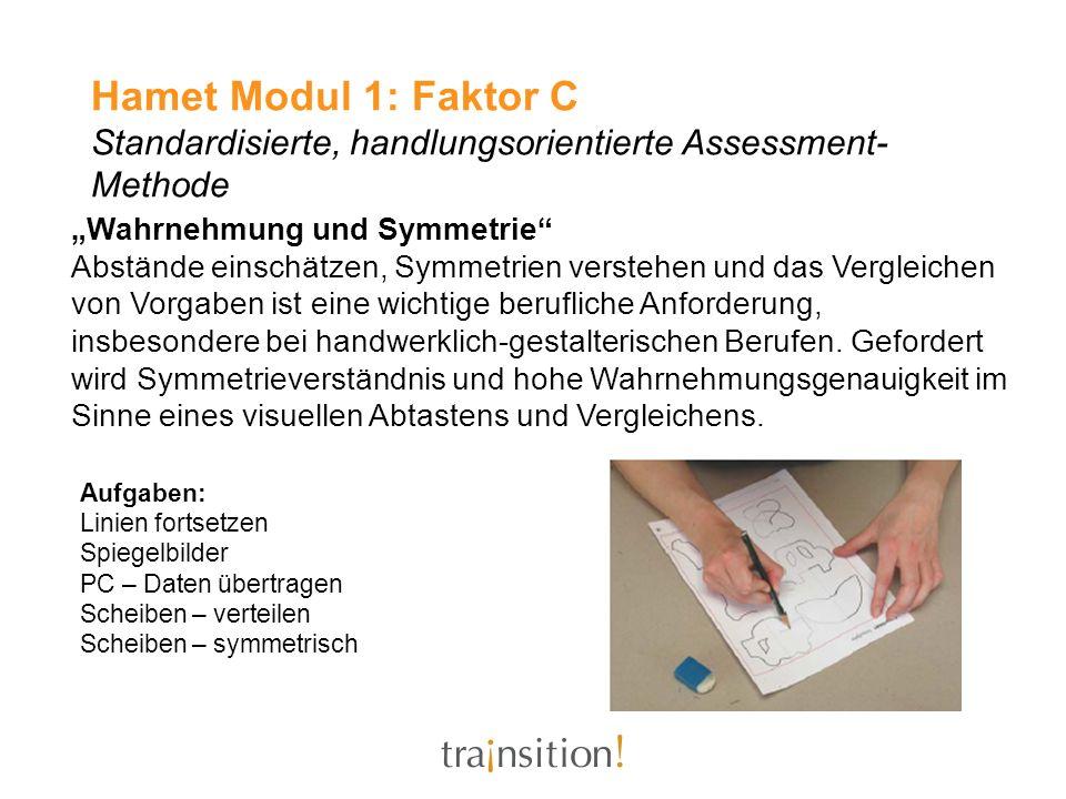 Hamet Modul 1: Faktor C Standardisierte, handlungsorientierte Assessment-Methode
