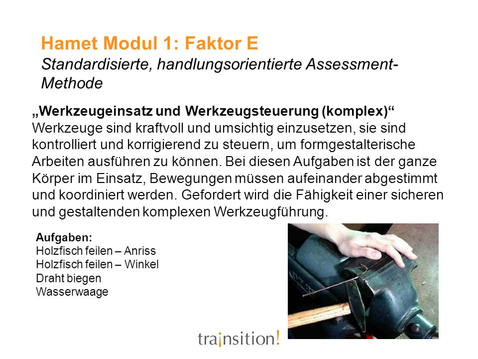 Hamet Modul 1: Faktor E Standardisierte, handlungsorientierte Assessment-Methode