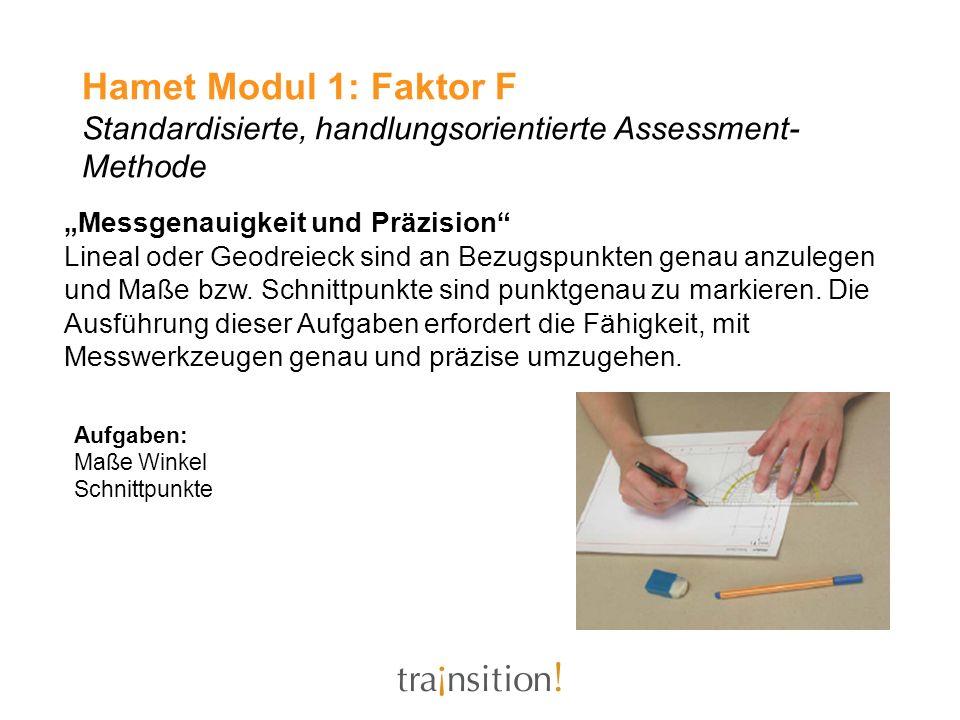 Hamet Modul 1: Faktor F Standardisierte, handlungsorientierte Assessment-Methode