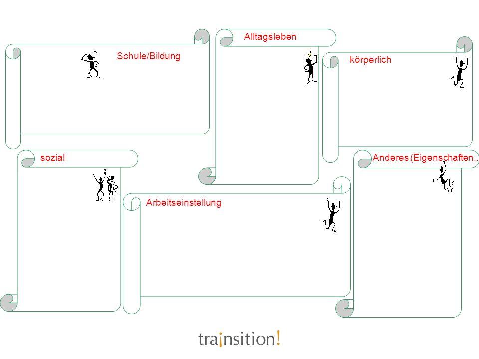 Alltagsleben Schule/Bildung körperlich sozial Anderes (Eigenschaften..) Arbeitseinstellung