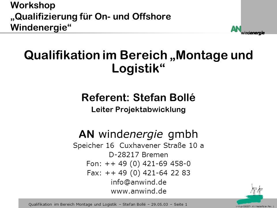 """Workshop """"Qualifizierung für On- und Offshore Windenergie"""
