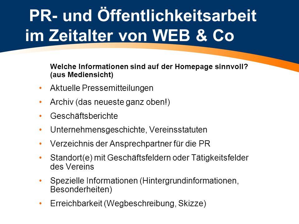 PR- und Öffentlichkeitsarbeit im Zeitalter von WEB & Co