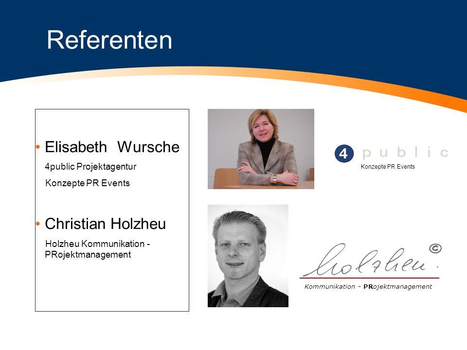 Referenten Elisabeth Wursche Christian Holzheu 4public Projektagentur
