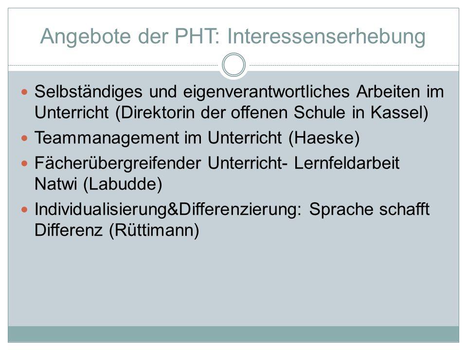 Angebote der PHT: Interessenserhebung
