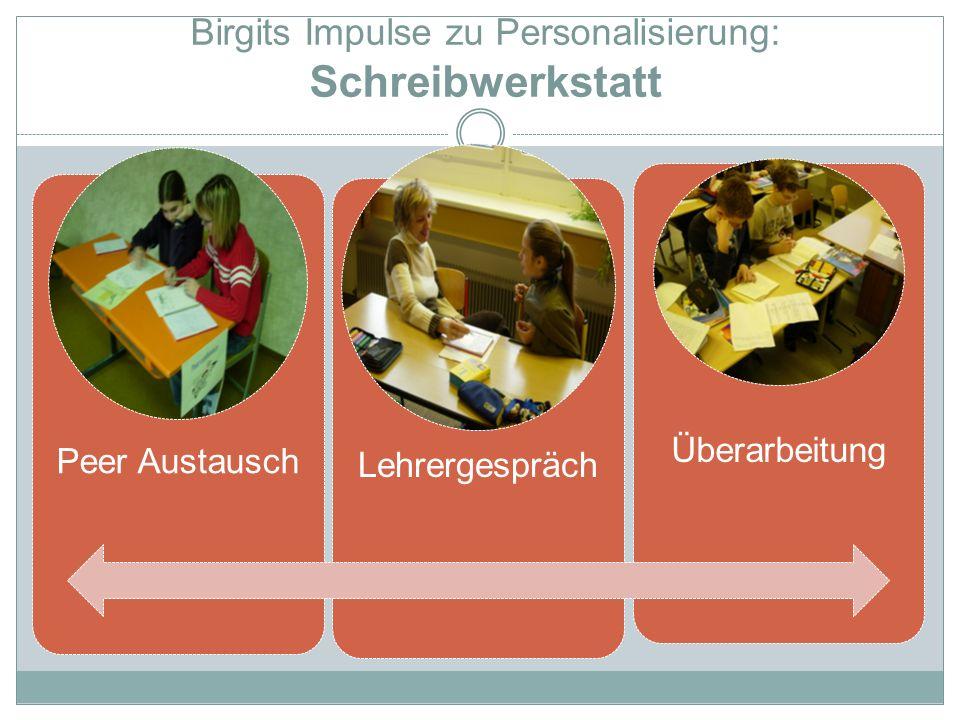 Birgits Impulse zu Personalisierung: Schreibwerkstatt