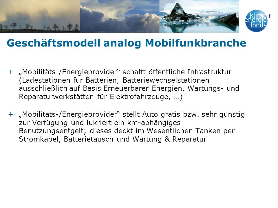 Geschäftsmodell analog Mobilfunkbranche