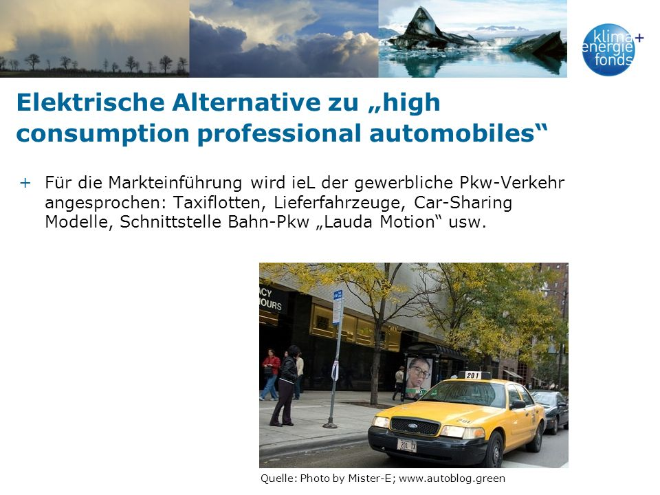 "Elektrische Alternative zu ""high consumption professional automobiles"
