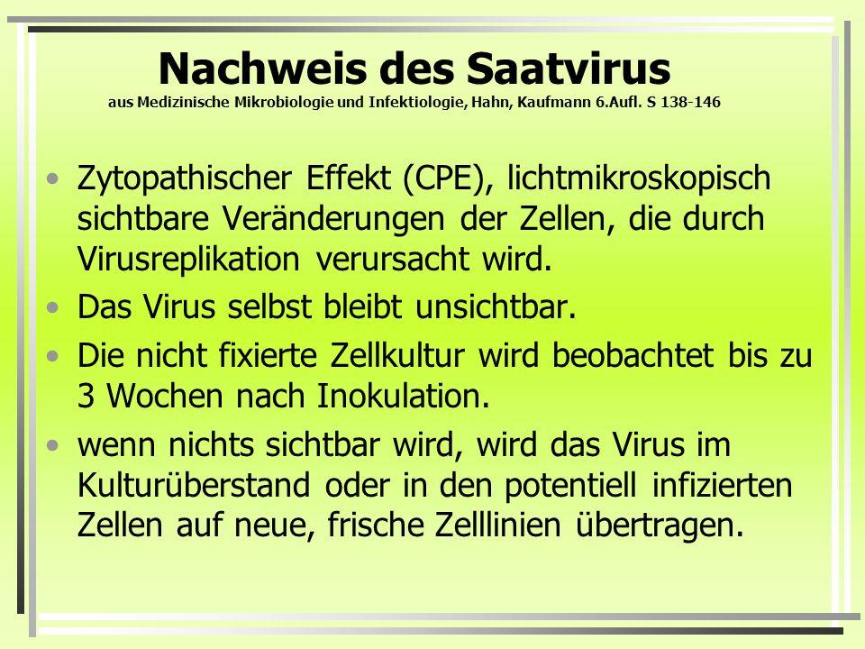 Nachweis des Saatvirus aus Medizinische Mikrobiologie und Infektiologie, Hahn, Kaufmann 6.Aufl. S 138-146