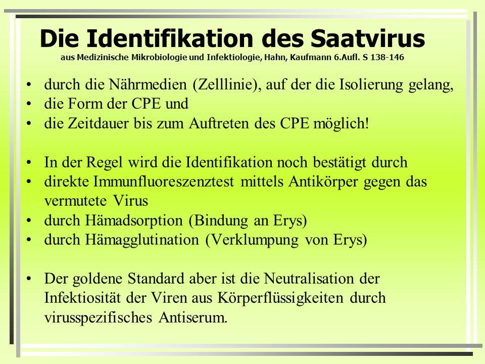 Die Identifikation des Saatvirus aus Medizinische Mikrobiologie und Infektiologie, Hahn, Kaufmann 6.Aufl. S 138-146