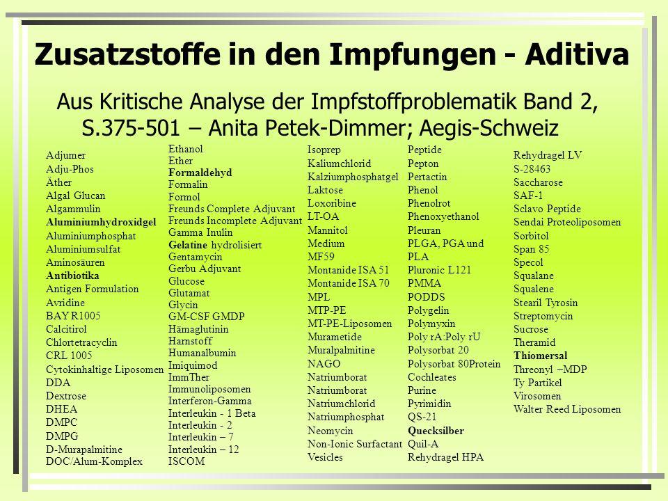 Zusatzstoffe in den Impfungen - Aditiva