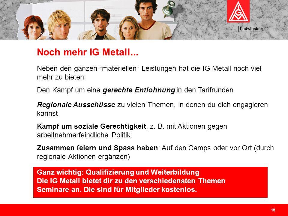 Noch mehr IG Metall... Neben den ganzen materiellen Leistungen hat die IG Metall noch viel mehr zu bieten: