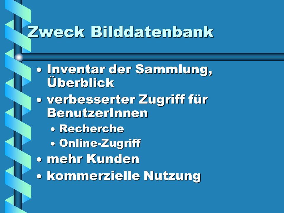 Zweck Bilddatenbank Inventar der Sammlung, Überblick