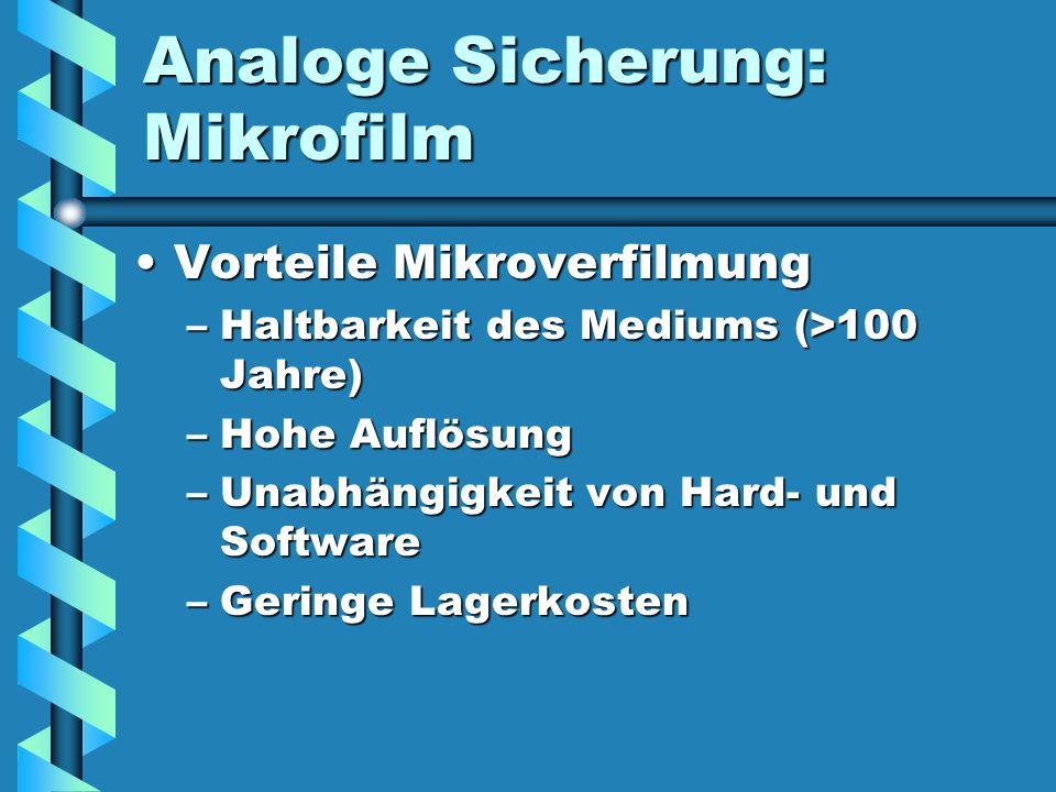Analoge Sicherung: Mikrofilm