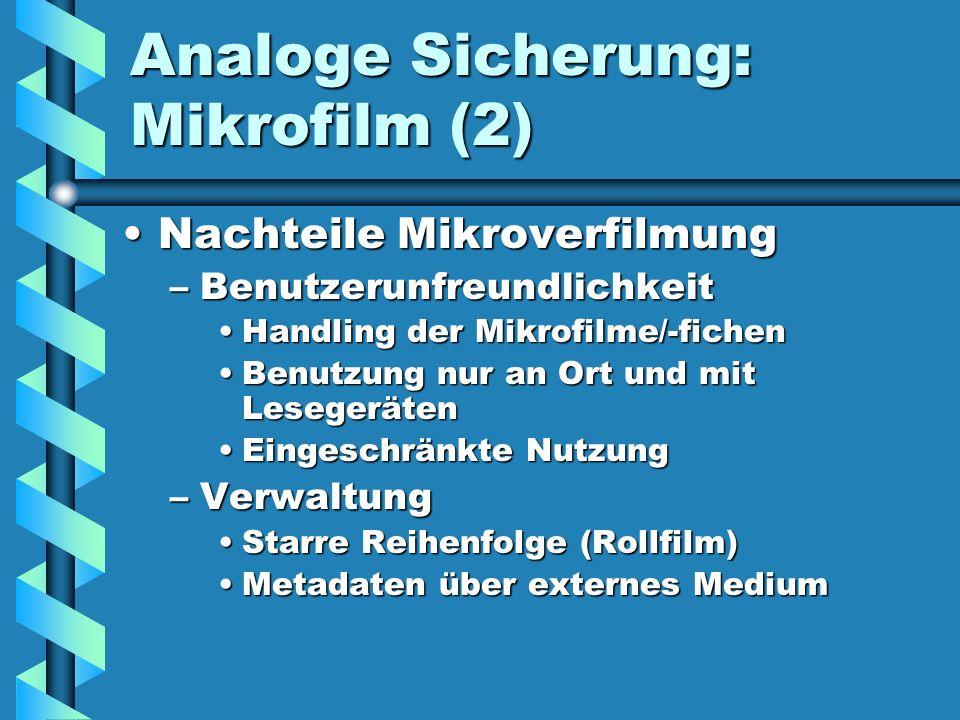 Analoge Sicherung: Mikrofilm (2)