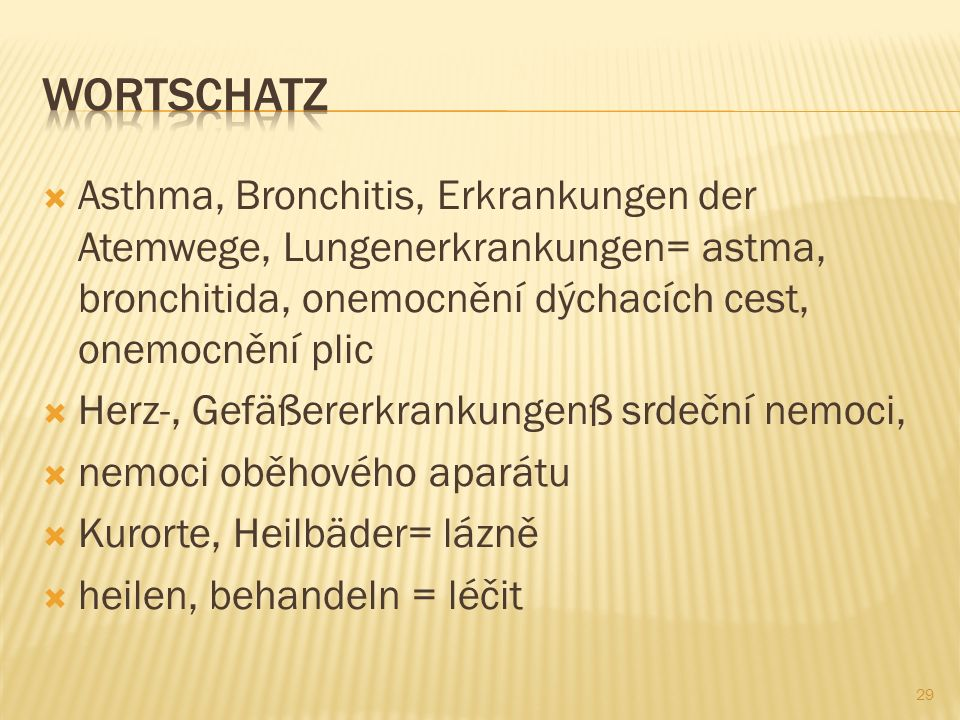 Wortschatz Asthma, Bronchitis, Erkrankungen der Atemwege, Lungenerkrankungen= astma, bronchitida, onemocnění dýchacích cest, onemocnění plic.