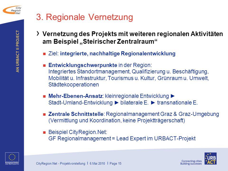 """3. Regionale Vernetzung Vernetzung des Projekts mit weiteren regionalen Aktivitäten am Beispiel """"Steirischer Zentralraum"""