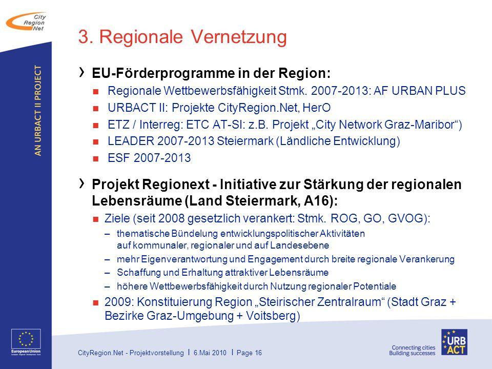 3. Regionale Vernetzung EU-Förderprogramme in der Region:
