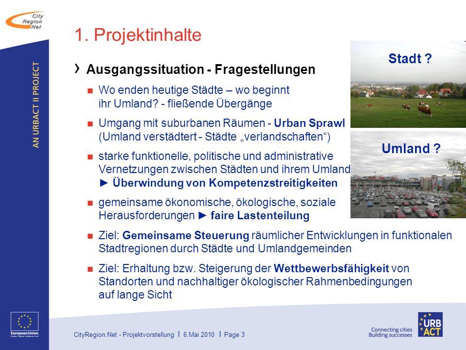 1. Projektinhalte Stadt Ausgangssituation - Fragestellungen Umland