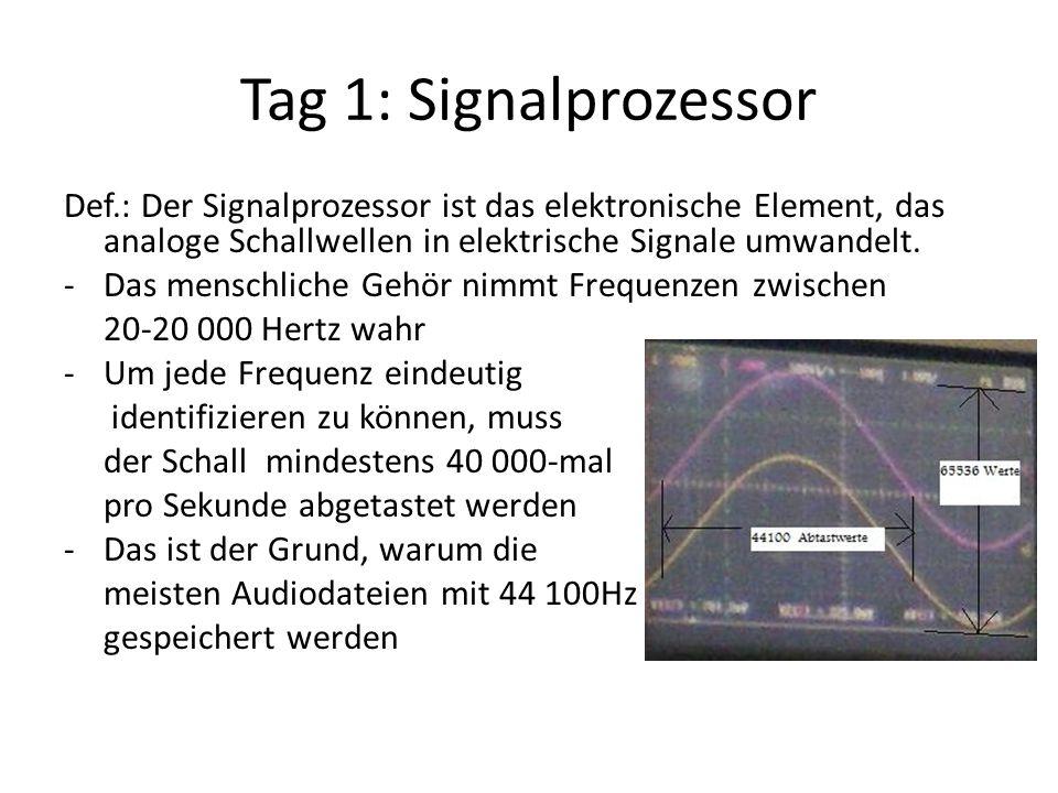 Tag 1: Signalprozessor Def.: Der Signalprozessor ist das elektronische Element, das analoge Schallwellen in elektrische Signale umwandelt.